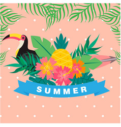 Summer ribbon bird flower leaves pink background v vector