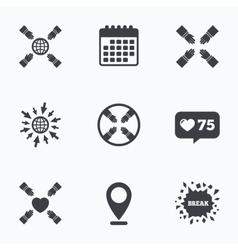 Teamwork icons Helping Hands symbols vector image