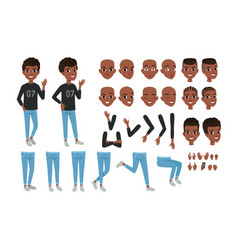 teenager character constructor black boy s vector image