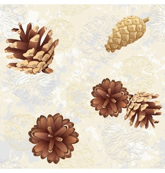 Texture with pine cones vector