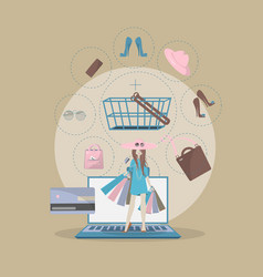 the girl is shopping online vector image