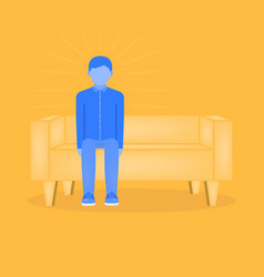 The young man sits right on the couch the sofa vector