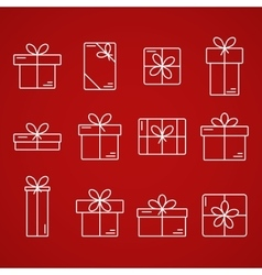thin line icons gift boxes vector image