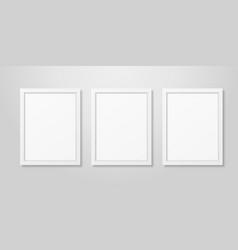 three realistic modern interior white blank vector image