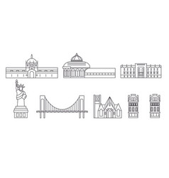 united states new york bronx line travel skyline vector image