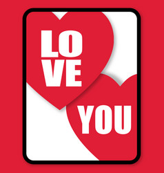 Valentine day heart love you image vector