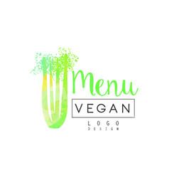Vegan menu logo design label for vegetarian vector