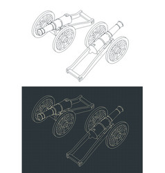 Vintage cannon isometric drawings vector