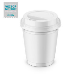 White glossy disposable cup with lid template vector