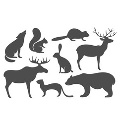 Wild Animals Silhouette vector