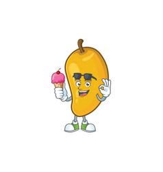 With ice cream cartoon mango character on a vector