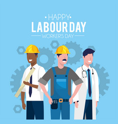 Worker people to celebrate labour day vector