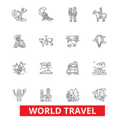World travel winter tourism skiing diving vector