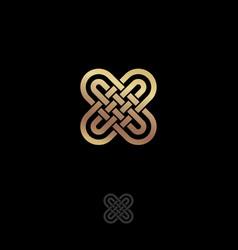 x letter monogram gold lines vector image