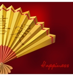 Yellow Chinese fan on red background vector