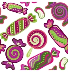 Yummy colorful sweet lollipop candy cane seamless vector image