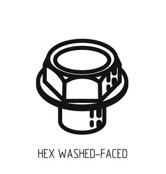 bolt head hex full bearing outline icon and vector image