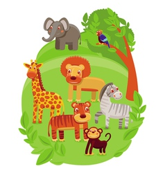 funny cartoon animals in green jungle vector image vector image
