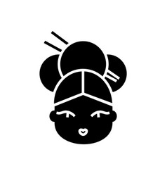 geisha icon black sign on vector image