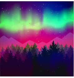 Landscape with northern lights and spruce forest vector