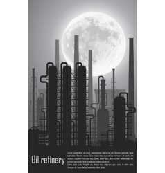 Oil and gas refinery at night vector image vector image