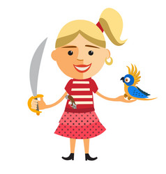 pirate girl with parrot vector image