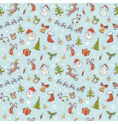 Seamless Christmas hand drawn pattern with symbols vector image