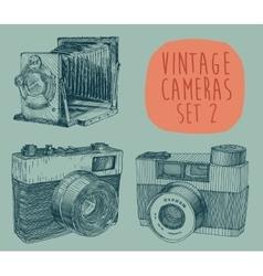 Set of Vintage Retro Old Camera Hand Drawn vector image
