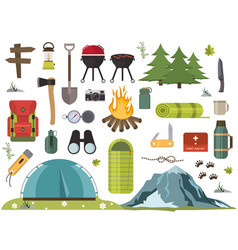 hiking camping equipment campfire base camp vector image