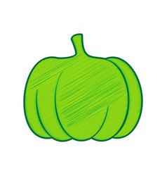 pumpkin sign lemon scribble icon on white vector image vector image