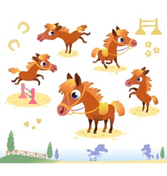 Set of bay horses vector image