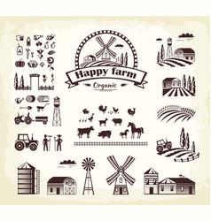 Set of happy farm organic production cartoon style vector