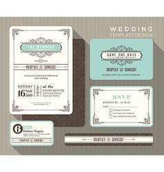 Vintage art deco wedding invitation set Template vector image