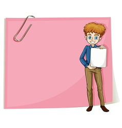 A boy holding an empty signage standing in front vector image