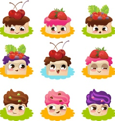 Cartoon cakes vector image vector image