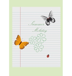 Leaf from a school notebook with an inscription vector image vector image