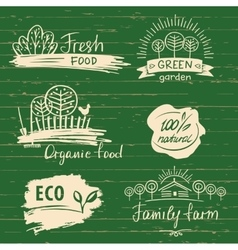 Organic food label and logos set Farm Fresh label vector image