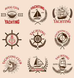set of yachting emblems vector image