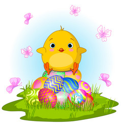 yellow easter chick vector image vector image