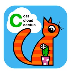 ABC cat cactus cloud vector image vector image