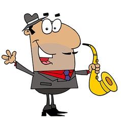 Hispanic Cartoon Saxophone Player Man vector image
