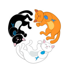 logo with three cartoon cats forming a circle vector image