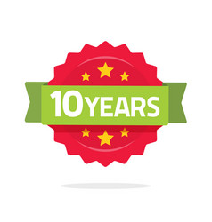 10 years anniversary logo template with green vector image