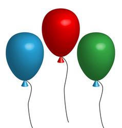 3d three balloon three multicolored balloons on vector