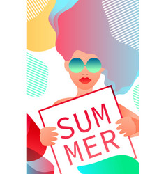 A woman holding a sign that says summer vector