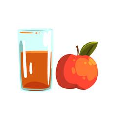 apple fruit juice glass of natural vegetarian vector image