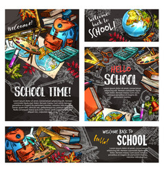Back to school chalkboard banner template set vector