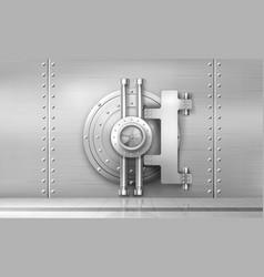Bank safe and vault door metal steel round gate vector
