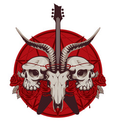 Banner with guitar skulls roses and pentagram vector
