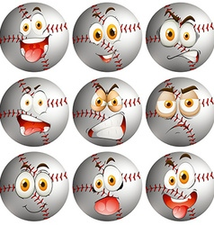 Baseball with facial expression vector image